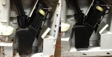 Kaffeevollautomat vor- und nach der Reingung